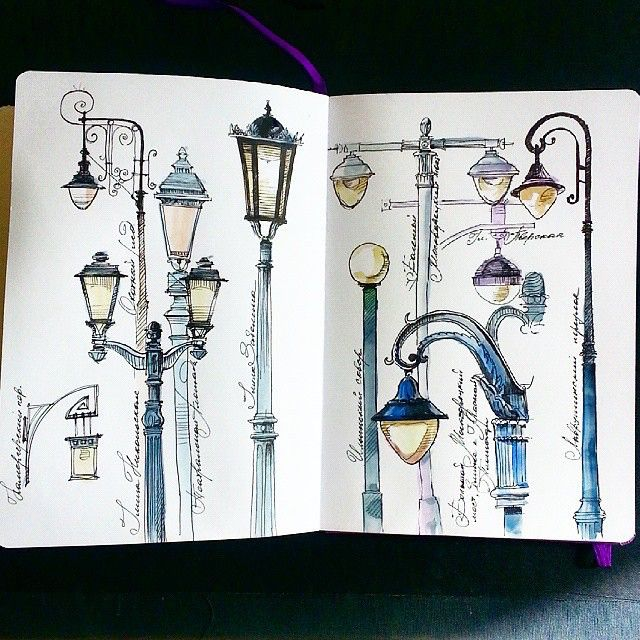 lamp street urban sketchbook notebook art artist illo illustration https://instagram.com/p/3nk4mAyuVI/