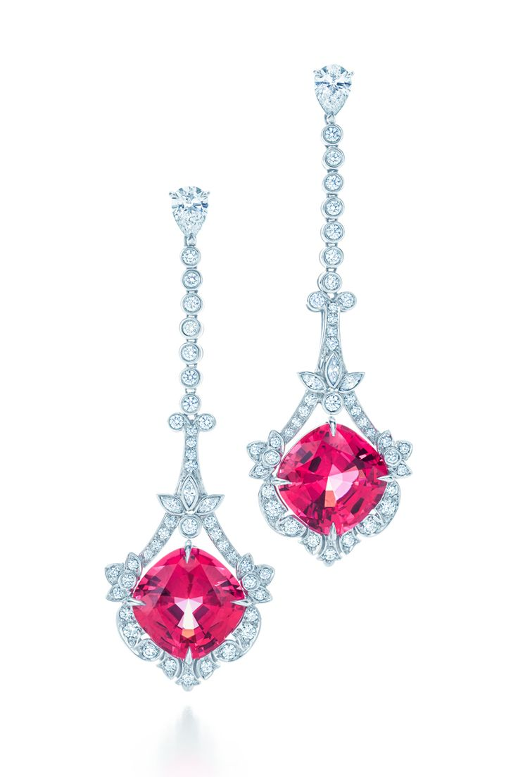 Earrings In Platinum With Cushioncut Red Spinels And Round Brilliant  Diamonds #tiffanypinterest