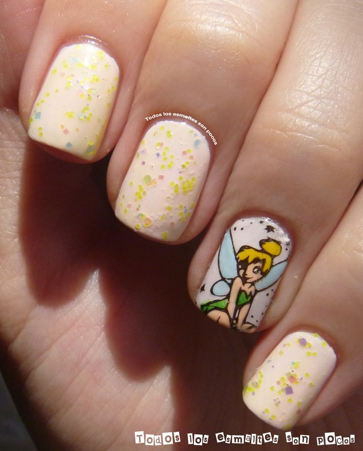 tinkerbell manicure nails nail