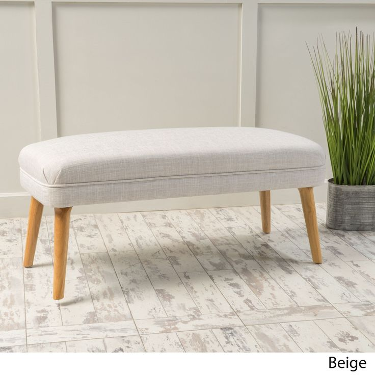 Desdemona Mid-Century Fabric Ottoman by Christopher Knight Home (Beige)