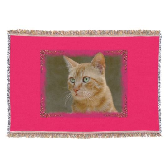 Ginger Cat Throw Blanket by www.zazzle.com/htgraphicdesigner* #zazzle #gift #giftidea #cat #throw #blanket #pink #ginger  #happy #mothersday