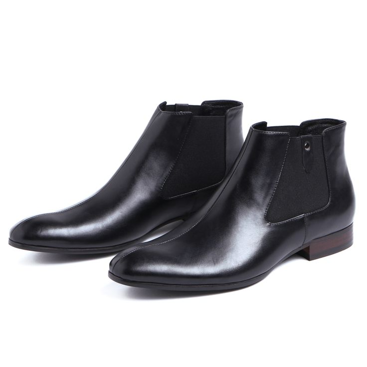 Fashion brown / black autumn mens ankle boots dress shoes genuine leather boots pointed toe mens motorcycle boots
