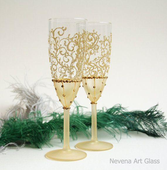Gold Wedding Glasses, Champagne Glasses Toasting Flutes, Set of 2