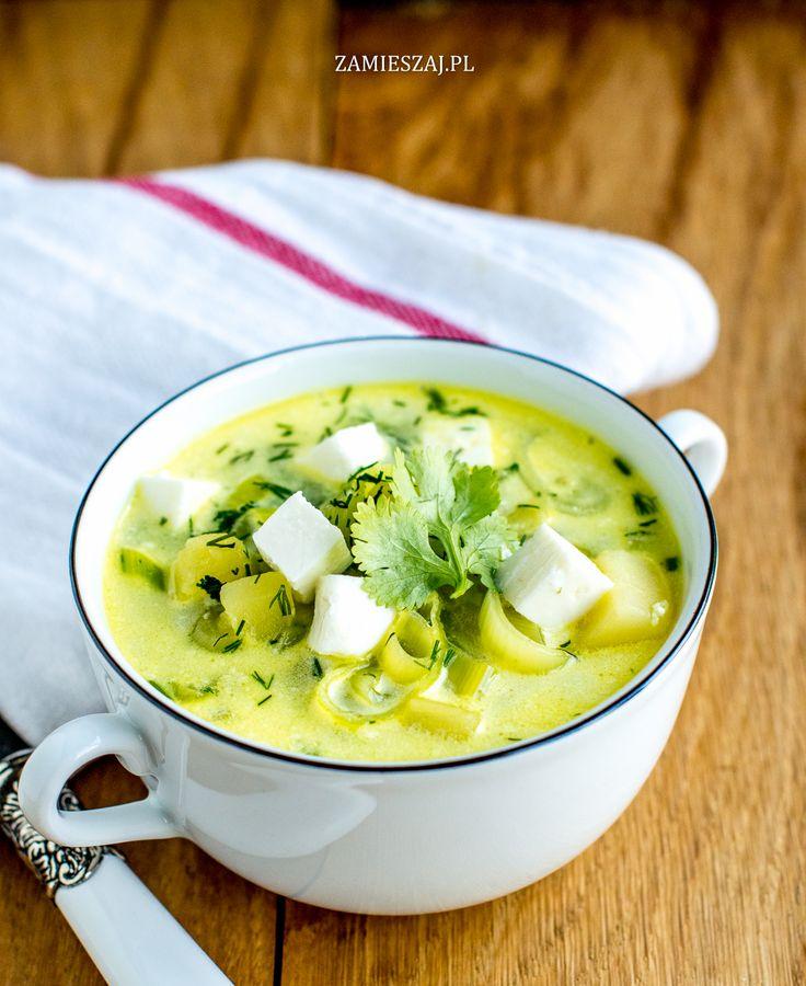 Leek soup with feta cheese