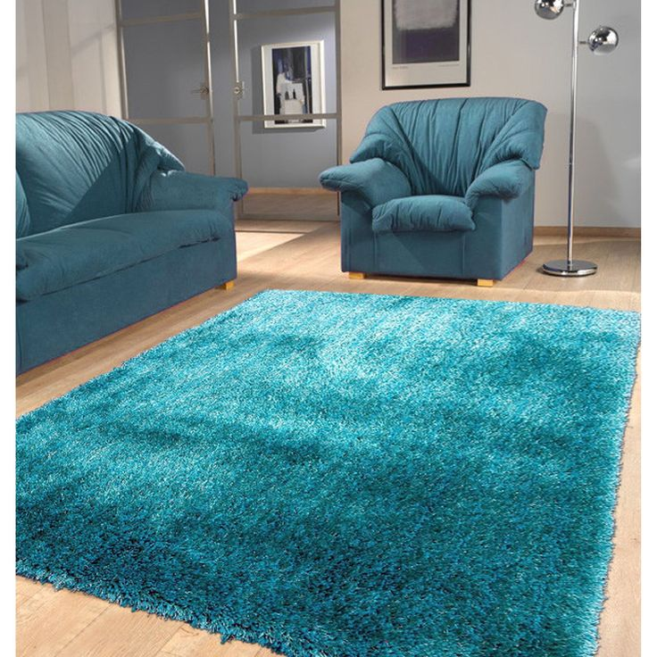Turquoise Runner Rug: Modern Shaggy Rug Runner Featuring A Vibrant Shade Of