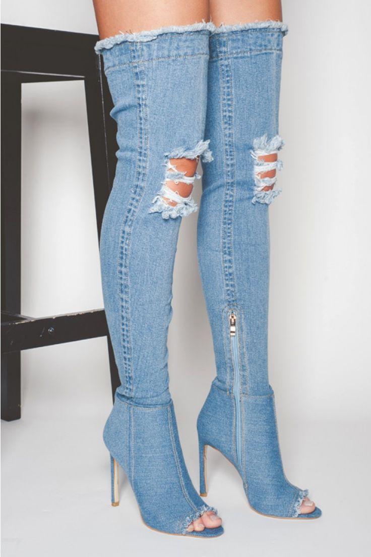 400bef6ea45 Mid Blue Maya OTK Denim Thigh High Boots | Shoes in 2019 | Jean ...