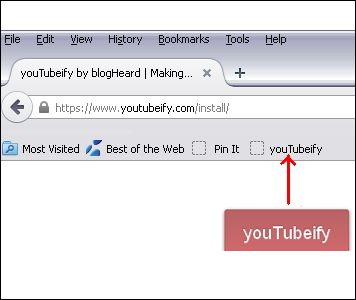 "Firefox:  To install, click the Pin above to open the install link.  Then drag the big red youTubeify button to your Bookmarks toolbar.  If your Bookmarks Toolbar is not visible in Firefox hold down the ""Alt"" key and click the letter ""V"" then ""T"" and then ""B"" (View, Toolbars, Bookmarks Toolbar)"