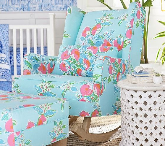 e602fb27e36634 Lilly Pulitzer x Pottery Barn Collection RESTOCKED! - Annie Wears It. Lilly  Pulitzer Modern Wingback Rocker ...