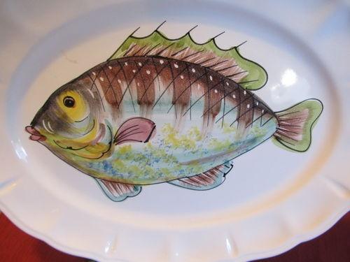 Oval ceramic plate Italian pottery beautiful fish signed   eBay