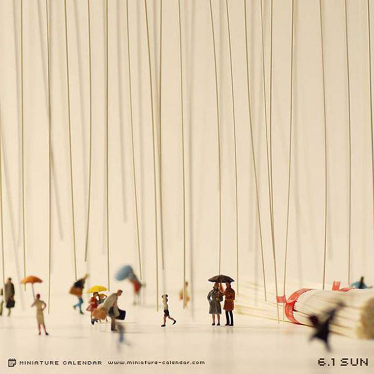 """El artista con sede en Japón, Tanaka Tatsuya, creó la serie """"Miniature Calendar"""", un calendario de imágenes en miniatura donde cada día podemos ver diferentes escenas"""