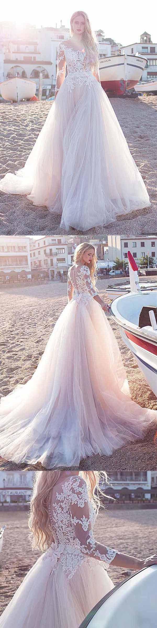 Tulle Scoop Neckline A-line Wedding Dress With Lace Appliques WD188 #wedding #beachwedding #weddingdress #dreamwedding #pgmdress