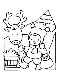 Le coin des petits [Balade en Champagne]: Coloriage préscolaire maternelle: Renne et lutin de Noël