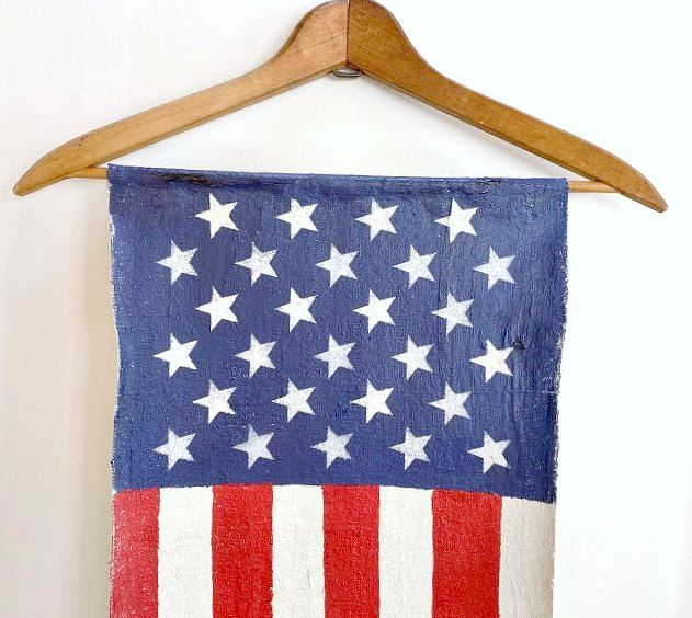 Hanging American Flag Painted Canvas In 2020 Wooden American Flag Decor Handmade American Flag American Flag Decor