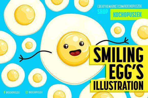Smiling Egg's Illustration by Kochopuszek on @creativemarket