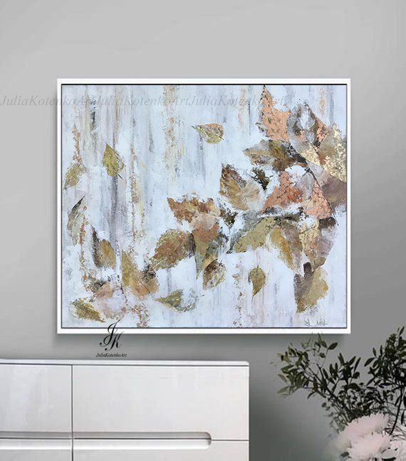 Oil Paintinggold Leaf Art Handmade Paintingpainting Etsy White Canvas Art Wall Art Painting Gold Leaf Painting
