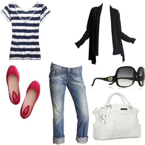 perfect for spring: Casual Style, Teen Outfits, Red Flats, Red Shoes, Summer Outfits, Jeans, Casual Outfits, Stripes, Spring Outfits