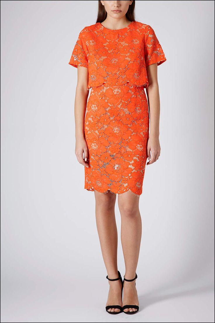 Orange Lace Dress topshop