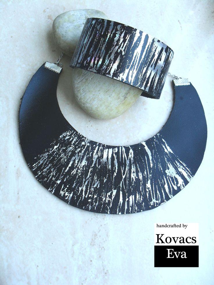 Ezüst bőr nyaklánc és karkötő. Silver leather necklace and bracelet.