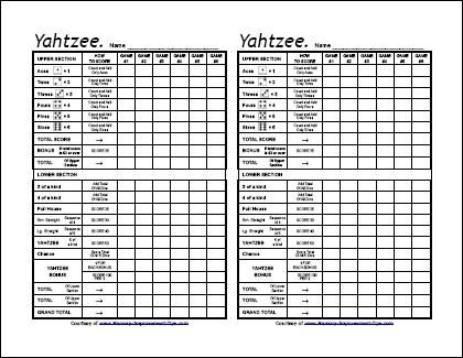 free printable yahtzee score sheets :) Need this for family game night