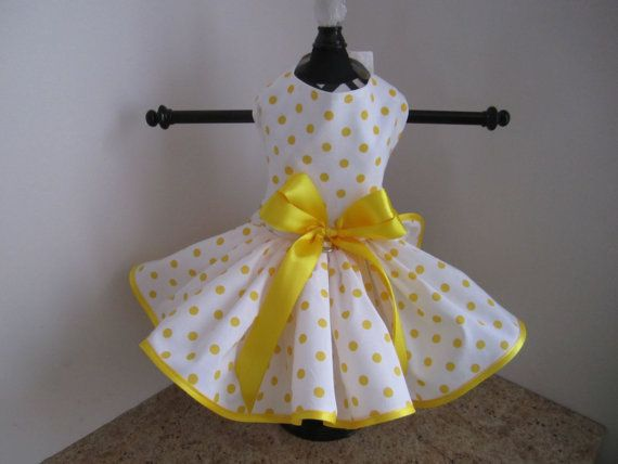 Dog Dress White with Yellow Polkadots by NinasCoutureCloset