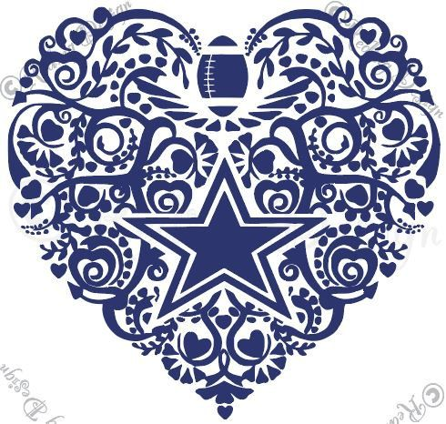Football Dallas Cowboys Heart SVG and DXF