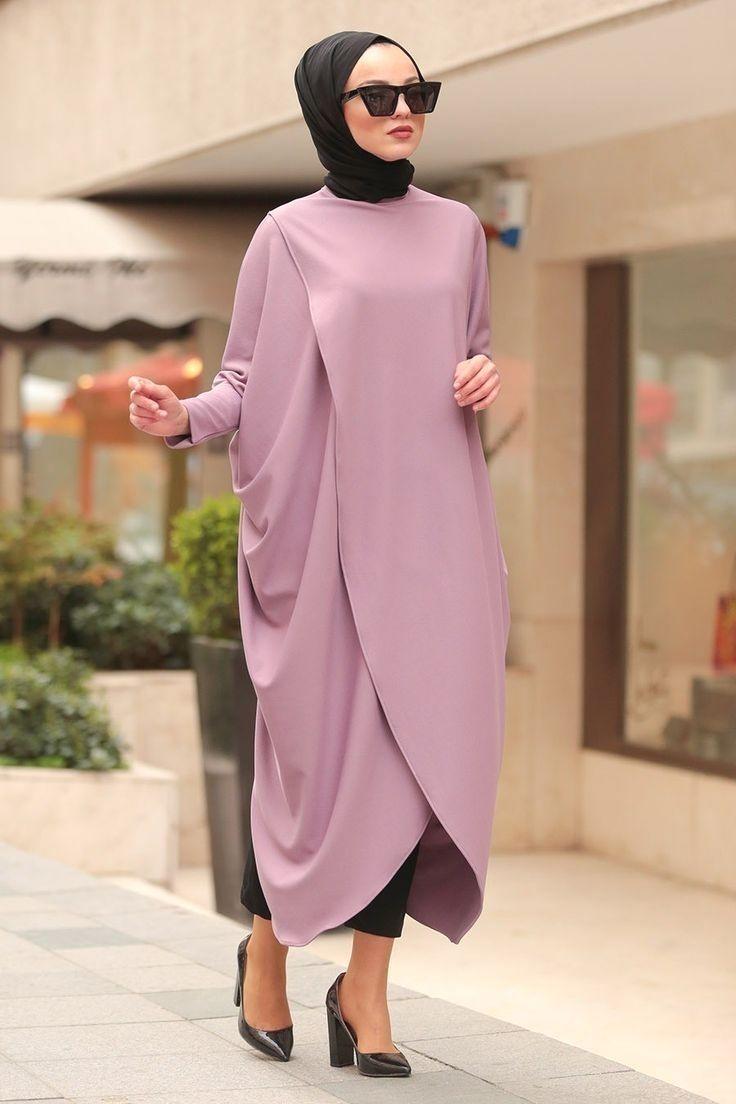 Nayla Collection Nayla Collection Capraz Kesim Lila Tesettur Panco Tuni Tesettur Tunik Modelleri 2020 Nayla Col In 2020 Fashion Casual Trends Hijab Moda