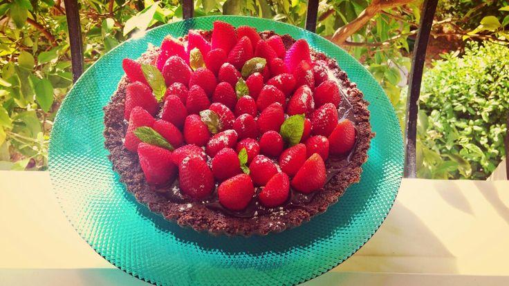 Oreo tart with Bailey's ganache and strawberries