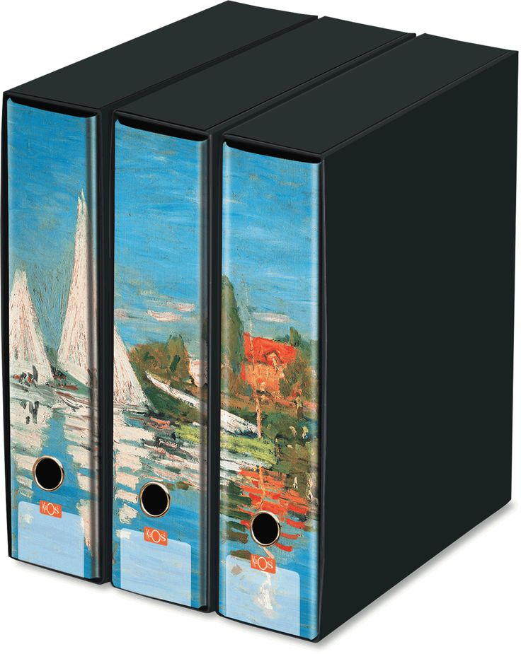 KAOS Lever Arch Files 2ring Binders with slipcase, Spine 8 cm, 3 pcs Set  - REGATTAS AT ARGENTEUIL, CLAUDE MONET  - 3 pcs Set Dimensions: 26.8x35x29 cm