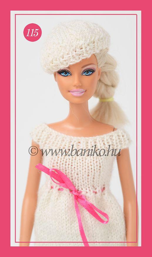 Fehér beret kötött Barbie sapka