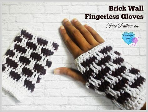 Brick Wall Crochet Fingerless Gloves - free pattern
