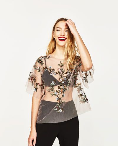 EMBROIDERED TULLE TOP-View all-TOPS-WOMAN | ZARA United States