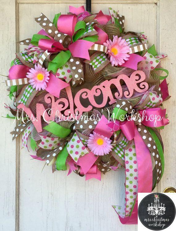 Spring wreath summer wreath burlap wreath by MrsChristmasWorkshop