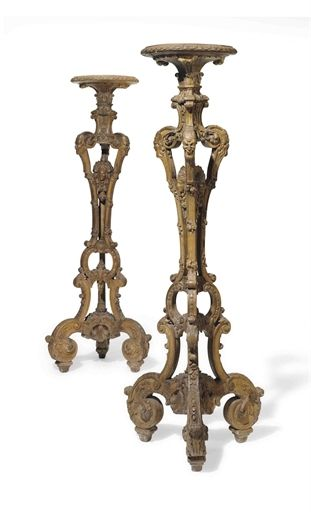 *A PAIR OF FRENCH WALNUT TORCHERES ONE EARLY LOUIS XV CIRCA 1740, THE OTHER 19TH CENTURY