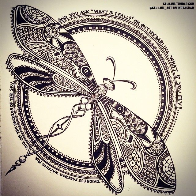 I was waiting for the week end so much to have time to finish my Dragonfly !! celiline_art French Artwork Non professional artist from Paris. If only this could be my full-time job... All drawings, doodles & zentangles by me. celiline.tumblr.com