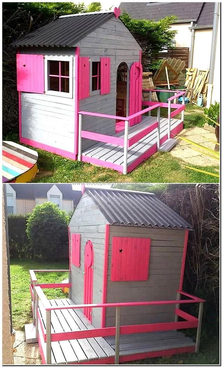 recycled pallets garden playhouse cabin for kids httpsmallhousediycomcategory