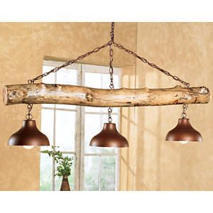 Pansy aspen log three bell light fixture decorating for Log cabin chandeliers