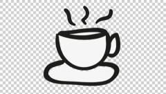 tea coffee cartoon illustration hand drawn animation transparent - stock footage