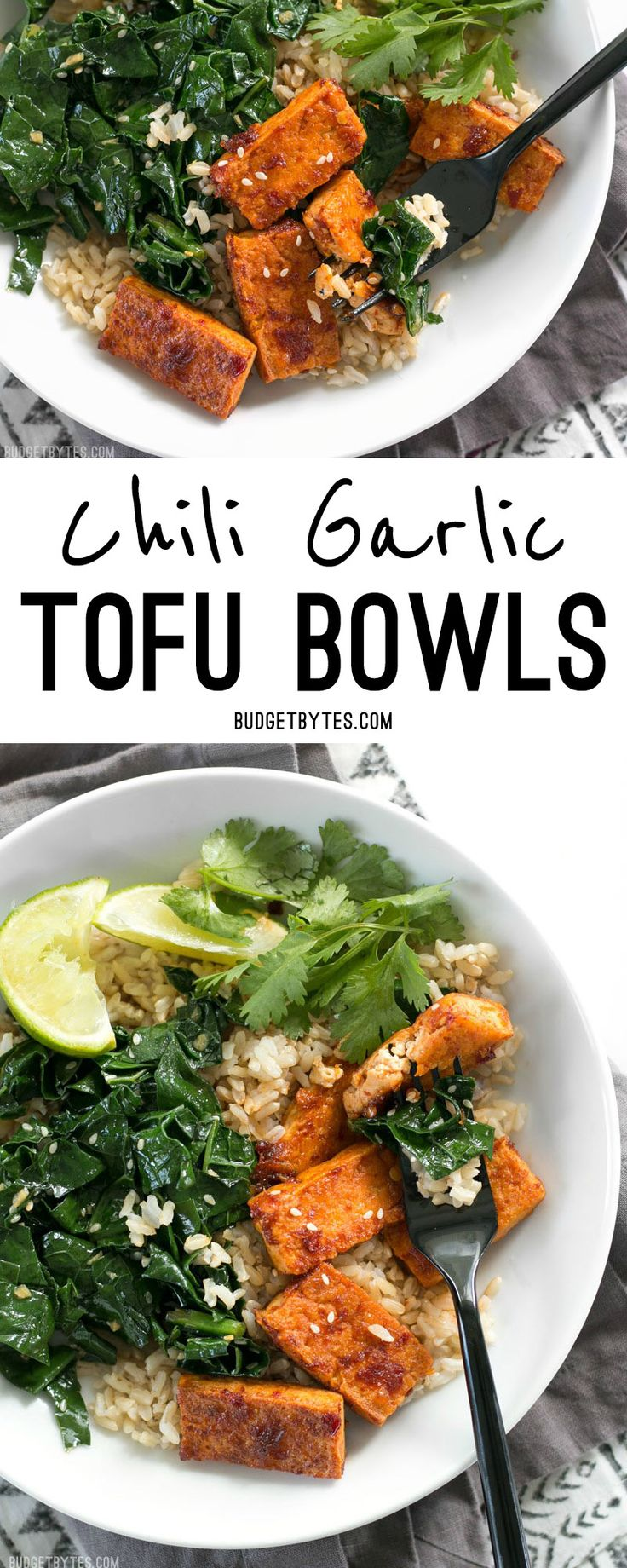 Chili Garlic Tofu Bowls are a fiber and flavor filled healthy lunch that you can pre-pack for your week ahead. @budgetbytes
