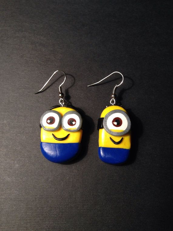 Handmade Polymer Clay Minion Earrings by PaperLotusGallery on Etsy, $15.00