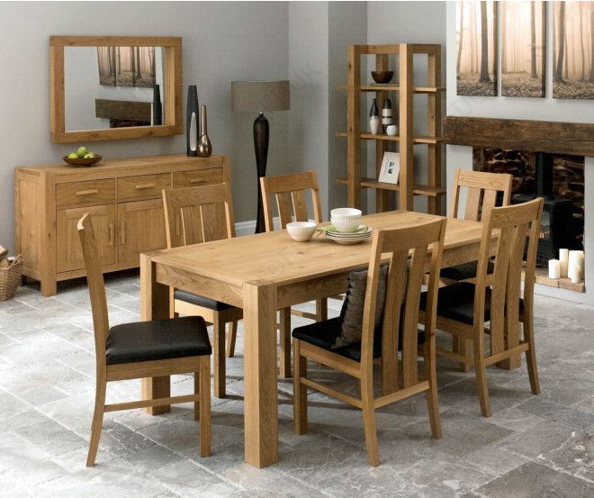 Bentley Designs Lyon Oak 180cm Double End Extending Dining Table with 6 Slatted Brown Faux Leather Chairs at Furniture Direct Uk.