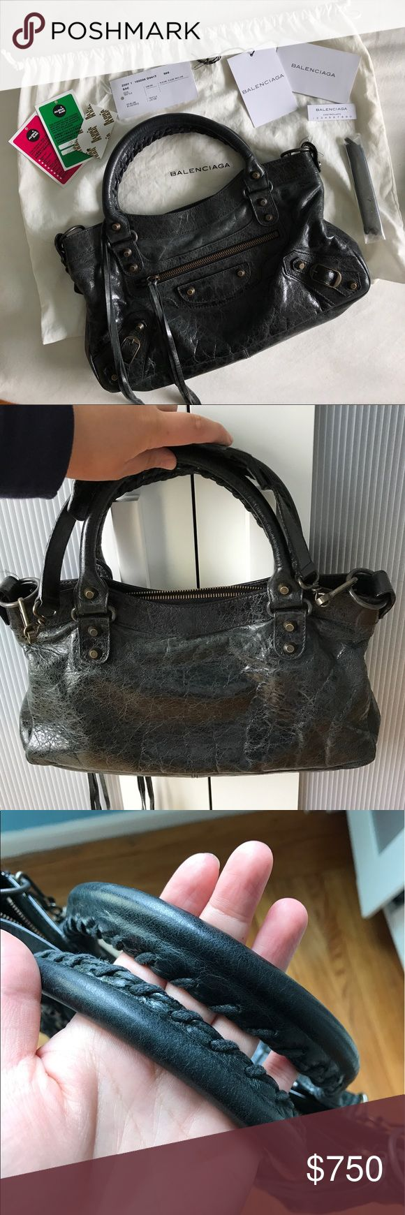 """2007 S/S Balenciaga Black First Classic Arena Bag Authentic, pre-owned 2007 Balenciaga First in Black. Good condition. Classic slouchy leather from Balenciaga. Some normal wear on corners (see pictures). No major damage. All tags, cards, and dust bag included. Retails around $1300.  13x7x2.5"""" handle drop 4"""" strap drop 8"""" Balenciaga Bags Shoulder Bags"""