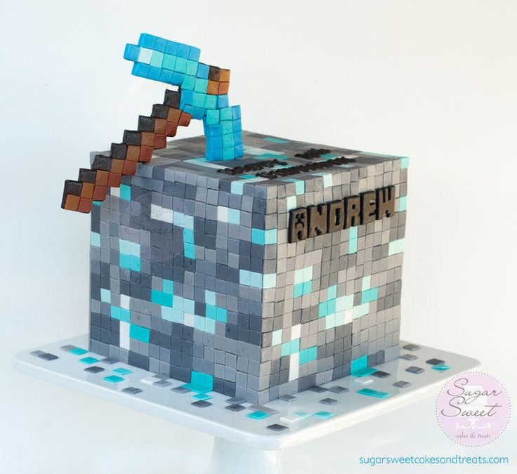 My son wanted a Minecraft Cake for his birthday and requested for a Diamond Ore Cube with a Diamond Ore Pick Axe. If I had only known what I was getting myself into – This was by far, the most time consuming cake to build! I had 3 cookie sheets...