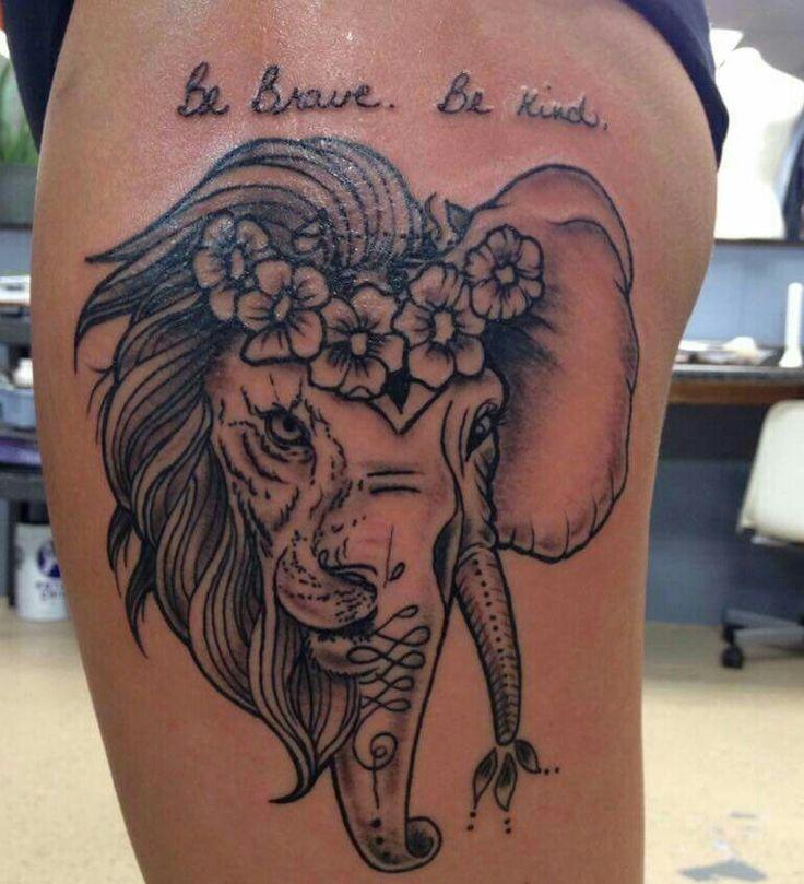 half elephant half lion thigh tattoo by Amish Rob  http://www.amishrobstattoos.com