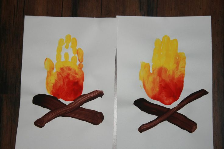 Fire handprint painting for preschoolers or elementary aged kids or Scouts.  Campfire craft or VBS craft. The Bergman Life: Preschool Art