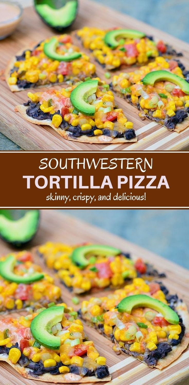 Southwestern Tortilla Pizza topped with black beans, corn, tomatoes, avocados, and creamy enchilada sauce. It's light, crispy, and packed with flavor!