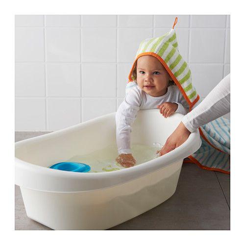 LÄTTSAM Baby bath, white, green white/green -