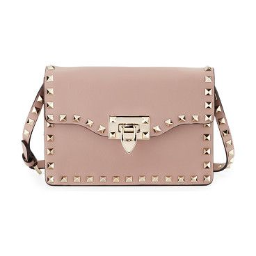 Small rockstud flap crossbody bag by Valentino. Valentino grained calf leather crossbody bag. Signature platino Rockstud trim. Removable, adjustable shoulder strap, ...