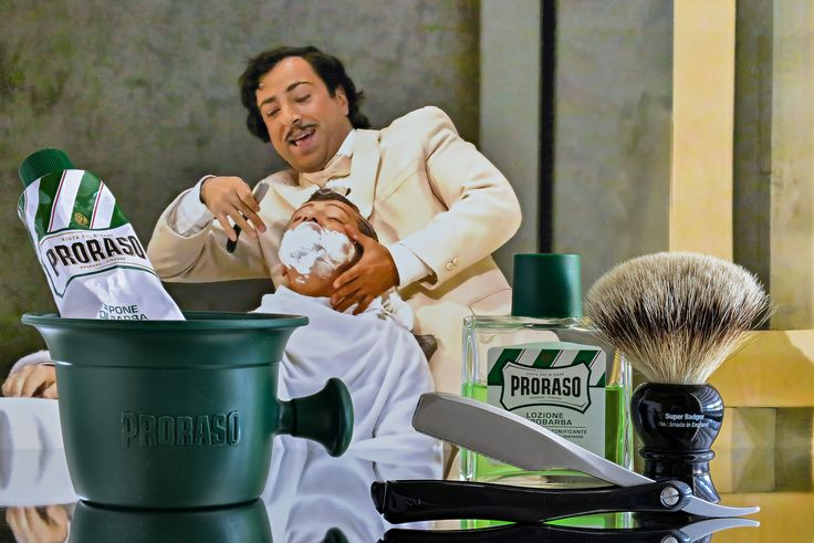 """Proraso Green shave cream, Truefitt and Hill badger brush, Kai folding shavette razor, Proraso Green aftershave, January 2, 2018.  Los Angeles Opera, """"Barber of Seville"""", photo from L.A. Times, March 1, 2015.  Adapted.  ©Sarimento1"""