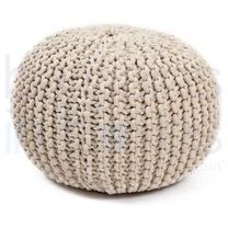 Luxury Cream Hand Knitted Pouf.