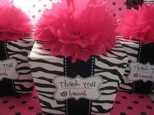 zebra print birthday party ideas | favors with silly bands and skittles lip gloss inside. Idea for the ...